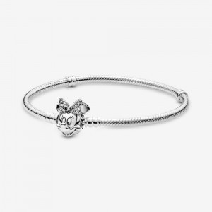 Pandora Disney Pandora Moments Pavé Minnie Mouse Clasp Snake Chain Bracelet