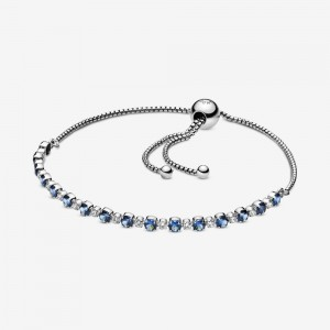 Pandora Blue and Clear Sparkle Slider Bracelet Multi