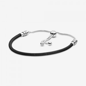Pandora Pandora Moments Black Leather Slider Bracelet