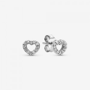 Pandora Open Heart Stud Earrings Silver