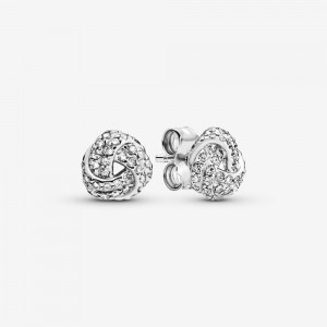 Pandora Shimmering Knot Stud Earrings Silver