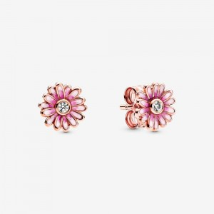 Pandora Pink Daisy Flower Stud Earrings