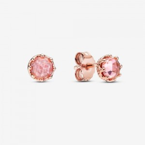 Pandora Pink Sparkling Crown Stud Earrings