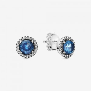 Pandora Blue Round Sparkle Stud Earrings Multi