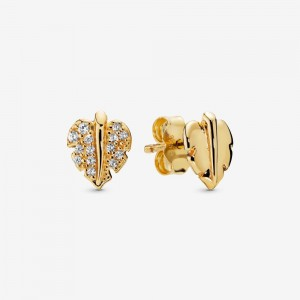 Pandora Shining & Sparkling Leaf Stud Earrings Gold