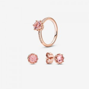 Pandora Rose Sparkling Crown Ring and Earring Set