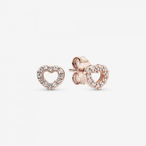 Pandora Open Heart Stud Earrings Rose Gold