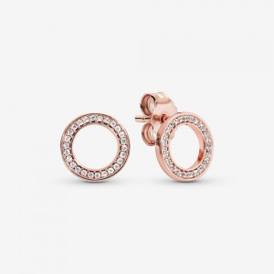 Pandora Sparkling Circle Stud Earrings Rose Gold