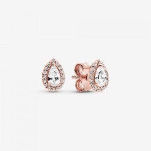 Pandora Teardrop Halo Stud Earrings Rose Gold