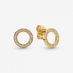 Pandora Sparkling Circle Stud Earrings Gold