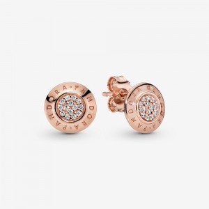 Pandora Sparkling Pandora Logo Stud Earrings Rose Gold
