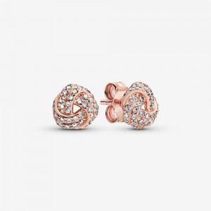 Pandora Shimmering Knot Stud Earrings Rose Gold