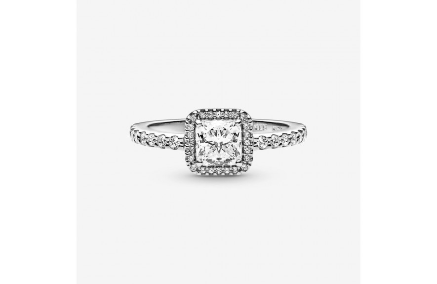 Pandora Square Sparkle Halo Ring Silver