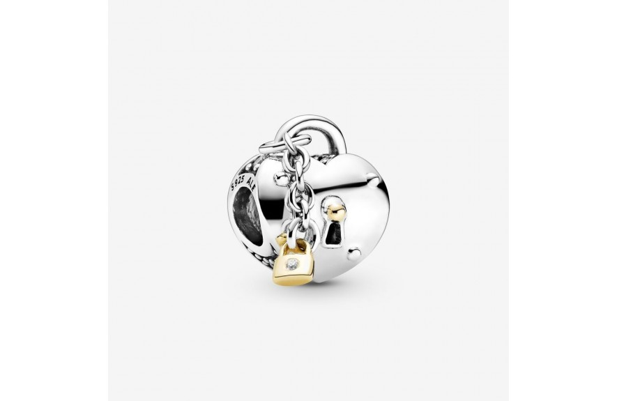 Pandora Two-Tone Heart and Lock Charm