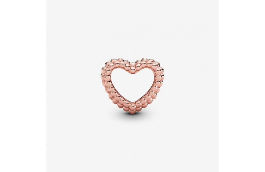 Pandora Beaded Open Heart Charm Rose Gold