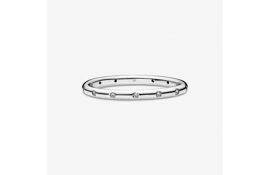 Pandora Simple Sparkling Band Ring Silver