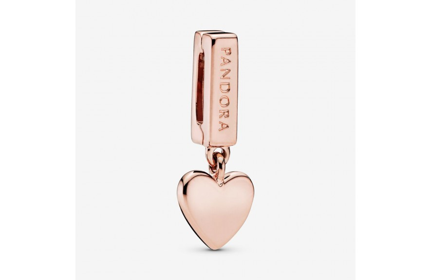 Pandora Heart Dangle Clip Charm Rose Gold