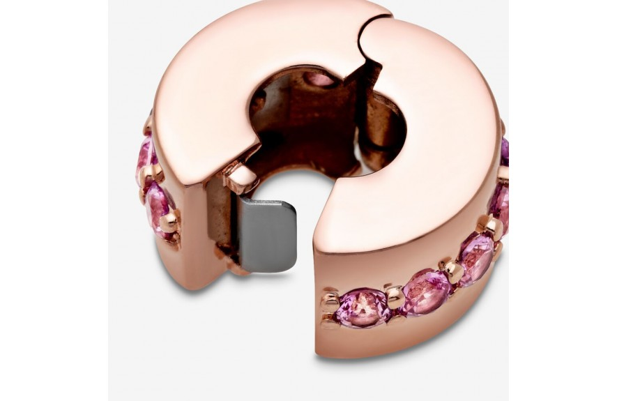 Pandora Pink Sparkling Row Clip Charm Rose Gold