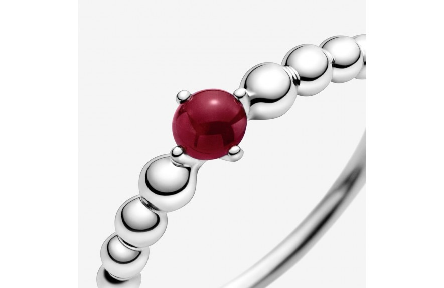 Pandora January Dark Red Beaded Ring Red