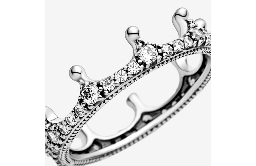 Pandora Clear Sparkling Crown Ring Silver