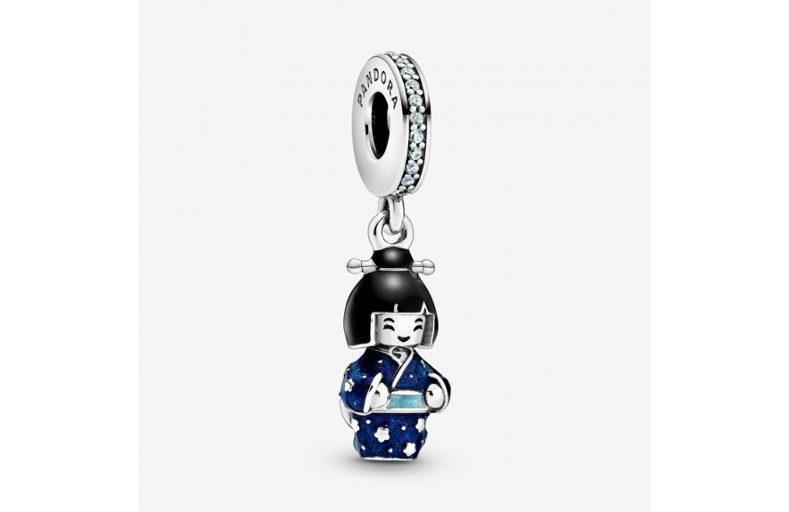 Pandora Japanese Doll in Blue Kimono Dangle Charm