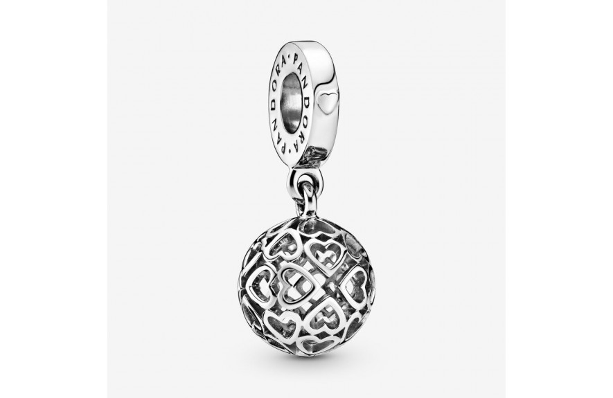 Pandora Openwork Heart Ball Dangle Charm Silver