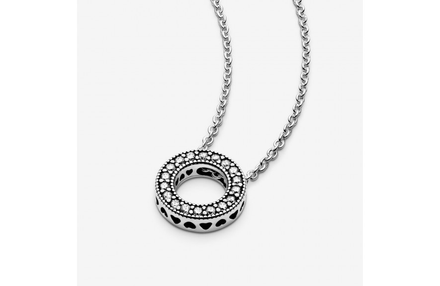 Pandora Pandora Logo Pavé Circle Collier Necklace Silver