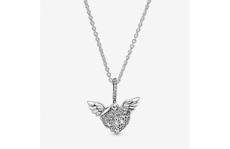 Pandora Pavé Heart and Angel Wings Necklace