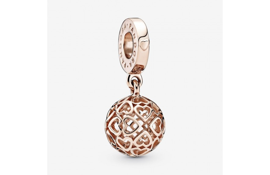 Pandora Openwork Heart Ball Dangle Charm Rose Gold