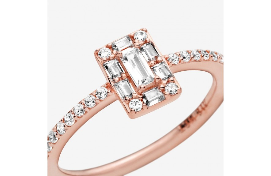 Pandora Sparkling Square Halo Ring - FINAL SALE Rose Gold