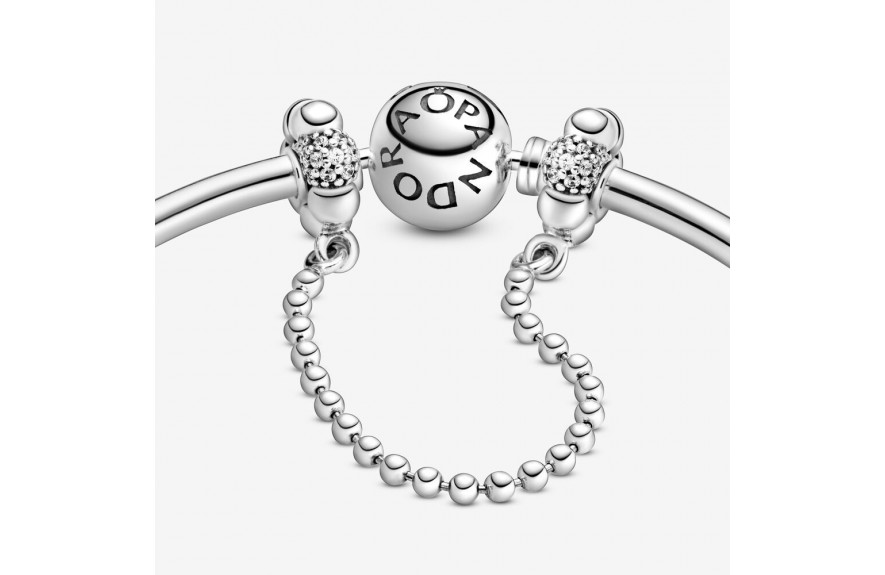 Pandora Beads and Pavé Safety Chain Charm