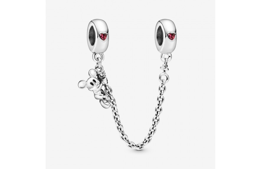 Pandora Disney, Climbing Mickey Safety Chain, Red CZ