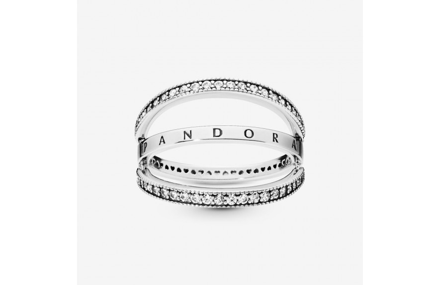 Pandora Pandora Logo and Hearts Ring