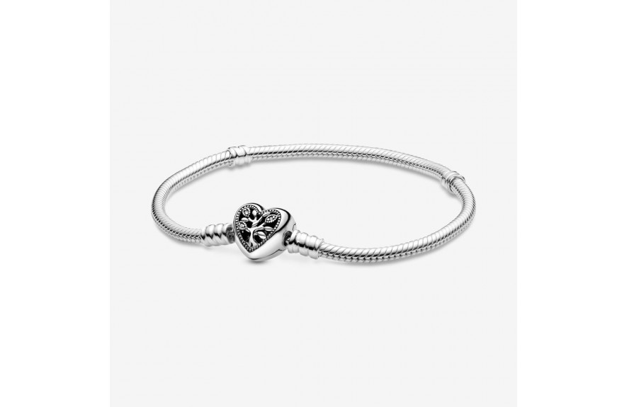 Pandora Pandora Moments Family Tree Heart Clasp Snake Chain Bracelet
