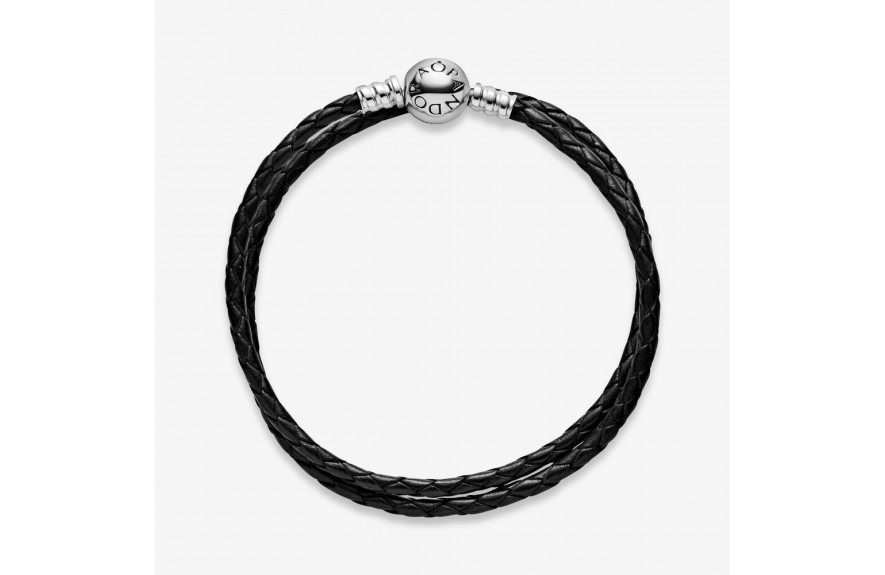 Pandora Pandora Moments Double Black Leather Bracelet