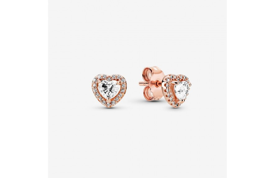 Pandora Sparkling Elevated Heart Stud Earrings Rose Gold