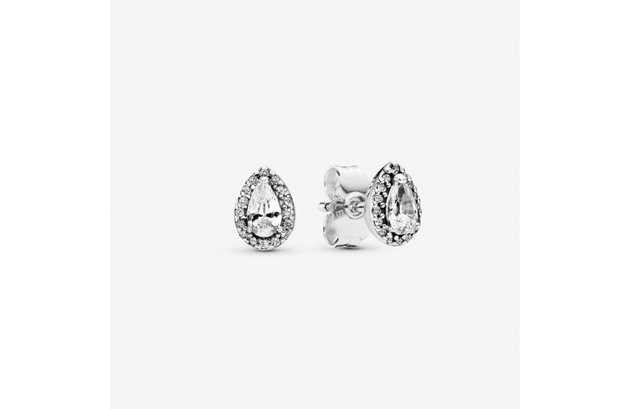 Pandora Sparkling Teardrop Halo Stud Earrings Silver