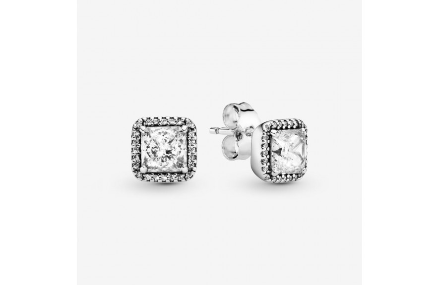 Pandora Square Sparkle Halo Stud Earrings Silver