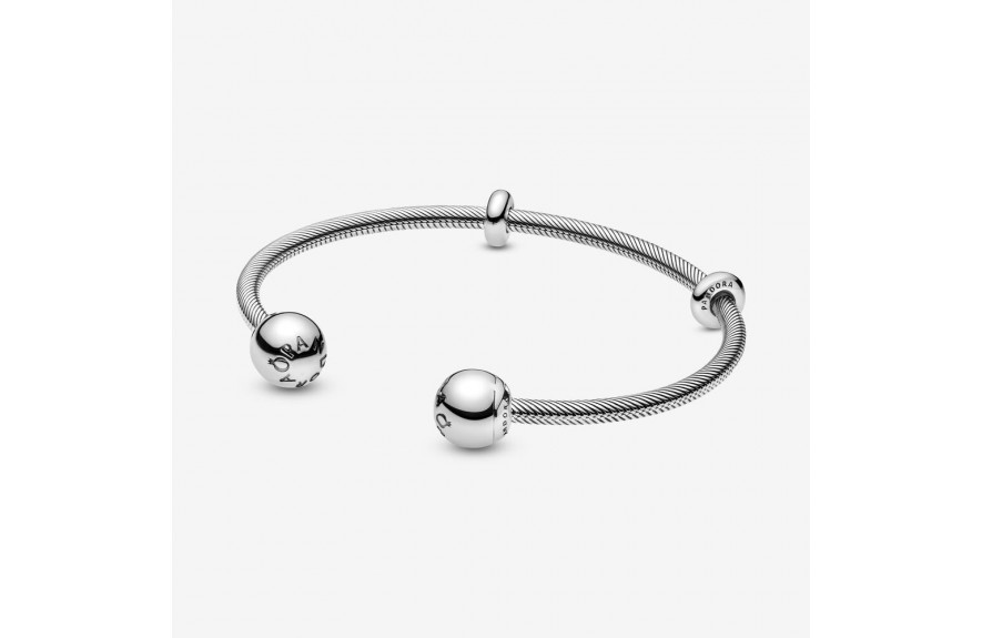 Pandora Pandora Moments Snake Chain Style Open Bangle Silver
