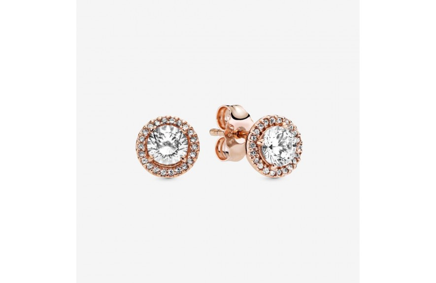 Pandora Round Sparkle Halo Stud Earrings Rose Gold